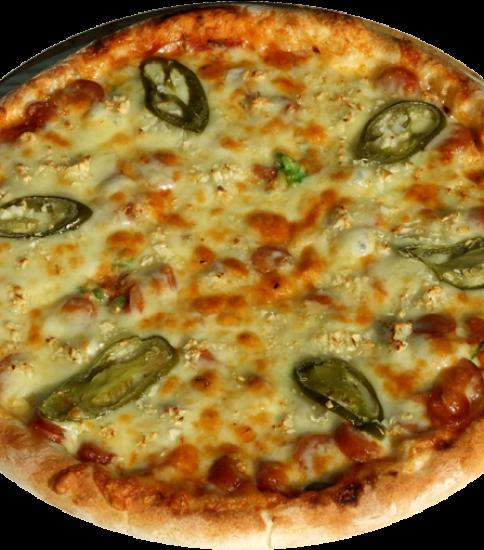 チョリソーとガーリックの辛口ピザ